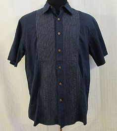 Pusser's Size Large Embroidered Button Front Shirt Navy & Beige 100% Cotton