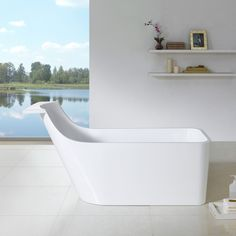 The Venice freestanding bathtub will bring its eclectic style to your modern or transitional bathroom. This piece combines a modern flare with practicality with the shelf the head of the tub.