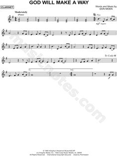 Print and download God Will Make a Way sheet music by Don Moen arranged for Clarinet. Instrumental Solo in G Major.