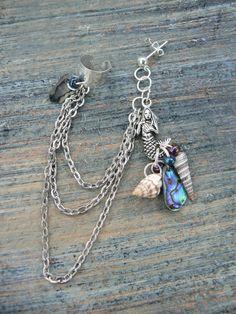 ONE mermaid abalone silver ear cuff  with chains by gildedingypsy, $18.00