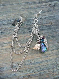 ONE mermaid abalone silver ear cuff  with chains by gildedingypsy, $18.00
