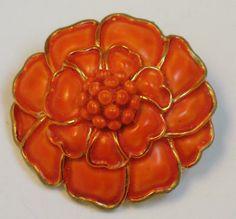 Hollycraft Coral Color Enameled Flower Brooch