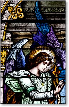 Emil Frei's artistry is on full display in this detail of the Archangel Gabriel, the Annunciation Stained Glass window, Sacred Heart of Jesus Church, Toledo, Ohio.