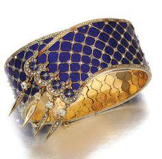 ~Gold, enamel and diamond bracelet, 1860s~