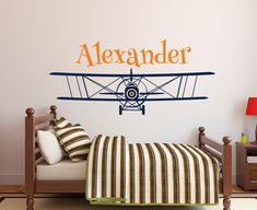 Personalized Airplane Name Wall Decal - Name Wall Decal - Nursery Wall Decal - Biplane Decal - Boys Airplane Decal - Kids Vinyl Wall Decal by PinkiePeguinShop on Etsy https://www.etsy.com/uk/listing/384436846/personalized-airplane-name-wall-decal