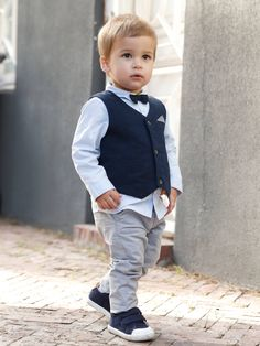 Baby boy Occasion wear-- Trendy cute Occasion Wear Outfit : Waistcoat + Shirt + Bow Tie + Trousers, for Boys – blue dark solid Cute Baby Boy Outfits, Little Boy Outfits, Toddler Outfits, Kids Outfits, Outfits Niños, Toddler Boy Fashion, Little Boy Fashion, Fashion Kids, Toddler Boys