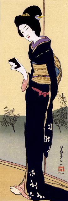 """竹久夢二「初春」(長尾版)YUMEJI""""HATSUHARU"""""""