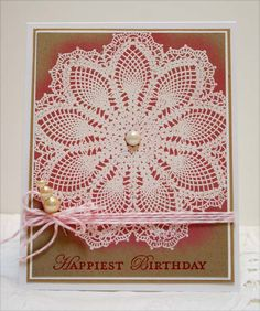 hand stamped and embossed cards | stampin up supplies of hello doily stamp embossed in white on crumb ...