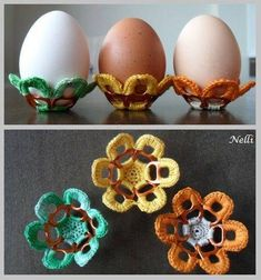 Handmade 2015 Minecraft Easter egg crochet flower holders with colorful yarns - Easter party favors Soda Tab Crafts, Can Tab Crafts, Bottle Cap Crafts, Pop Top Crafts, Diy And Crafts, Pop Tab Bracelet, Pop Tabs, Easter Crochet, Crochet Home