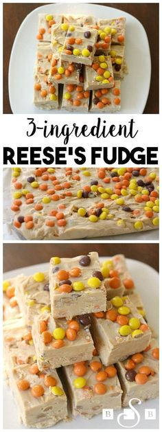 Reese's Fudge with a smooth, creamy texture & peanut butter flavor that's only has 3 ingredients! Topped with mini Reese's Pieces for flavor & fun. Fudge Recipes, Candy Recipes, Sweet Recipes, Dessert Recipes, Reese Fudge Recipe, Mini Desserts, Delicious Desserts, Yummy Food, Baking Desserts