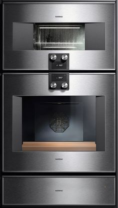 Stainless steel & glass built-in 400 Series from ''Gaggenau'' includes multifunction, double & single ovens, steam ovens, microwaves, warming drawers & fully auto espresso mach. In addition to their modern looks, ultimate function & clear text 25-lang. 60 cm or 76 cm wide built-in appliances feature 180° door openings & are designed to retain their autonomy while blending harmoniously with each other - whether you install 3 or even 4 appliances side by side or set them up vertically.
