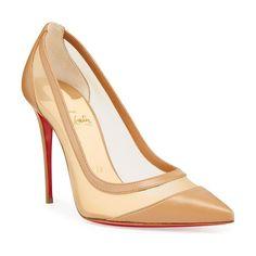 Christian Louboutin Galativi Mesh & Leather Pumps. #christianlouboutin #nudeshoes #pumps #heels