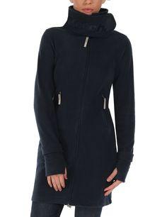 Bench - Abrigo largo de forro polar para mujer, Azul, Small