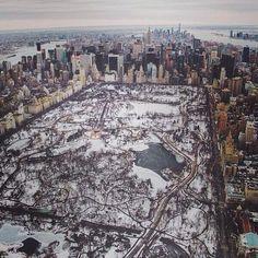 Espectacular foto aérea de Central Park nevado. Nueva York.