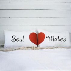 Soul Mates Hand Painted couples pillow cases, His and Hers Pillow, Anniversary Wedding gift, Engagement Bridal Shower Gift Idea