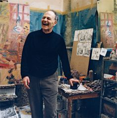 'Frank Auerbach in his London studio, 2001, photographed by Kevin Davies © Kevin Davies, courtesy National Portrait Gallery