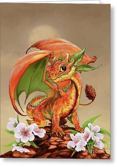 Peach Dragon Greeting Card by Stanley Morrison