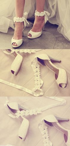 Advanced custom wedding shoes 2016 wedding shoes, white lace ribbon flowers diamond bridal heels sandals large size shoes $59.88