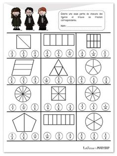 Worksheets 532902568393502480 - Les fractions – La Classe de Marybop Source by laetitiaiafrate Math Fractions Worksheets, 3rd Grade Math Worksheets, School Worksheets, Third Grade Math, Worksheets For Kids, Math For Kids, Fun Math, Math Activities, Homeschool Math