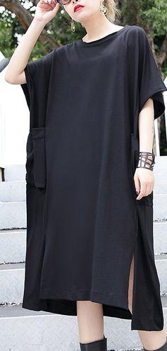 0f5199d8acaf2 women black cotton dress plus size clothing big pockets cotton gown Elegant  side open kaftans