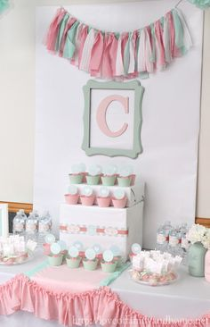 Fabric banner | Pink and Mint Bridal Shower via Tonya @ Love of Family & Home | Fabric found at Jo-Ann Stores or Joann.com
