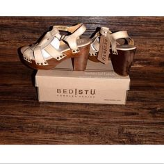 BED STU Leather Shoes Intricate Boho Wedge SandalsBoutique.  Size: Various