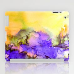 """""""Into Eternity - Yellow and Lavender Purple"""" by Ebi Emporium, Artist Julia Di Sano on Society 6, Colorful Abstract Whimsical Nature Watercolor Fine Art iPad Case Tech Device Cover Painting, Sunshine Floral Outdoors Elegant Original Design #iPad #case #cover #techie #tech #device #watercolor #painting #design"""