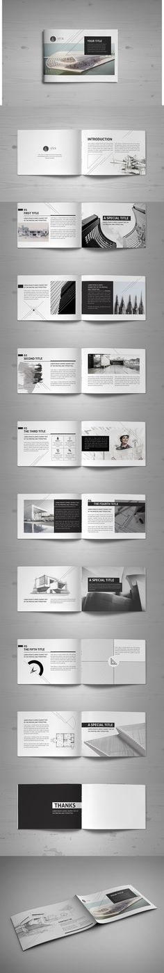 Minimal Modern Black & White Architecture Brochure Template InDesign INDD