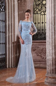 Long Sleeves Light Blue Chiffon Beaded Flowers Luxury Mermaid Evening Dress. #weddingdresses #weddinggowns
