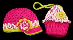 Crochet Hats and Cupcake Purses! Love Crochet, Crochet For Kids, Crochet Baby, Knit Crochet, Baby Set, Crochet Clothes, Crochet Toys, Pouch Bag, Pouches