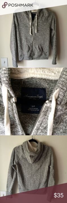 AE zip up sweater/ sweatshirt AE zip up sweater/sweatshirt. Faux shearling lined hood very soft interior. Excellent condition. Worn once. American Eagle Outfitters Tops Sweatshirts & Hoodies