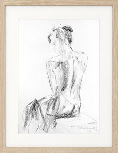 Charcoal nude Sketch, Original drawing, Nude Woman, Black and white sketch, Figurative Graphic art Wall decor, Modern artwork, Female Figure by IvMarART on Etsy