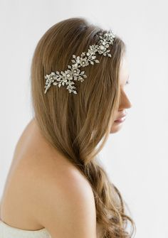 TITANIA crystal wedding headpiece in silver