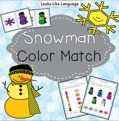 Snowman Freebie 2 by Looks Like Language   Is it winter time where you live? When I look out my window it is definitely snowman time!  This free set will be useful for PReK to 1 if you need an open ended matching activity or color matching worksheets to send home as a quick homework page.  I'm also thinking about making a similar set to be interactive at Boom Learning. Curious?  Come on over to my blog to get your free download and find out more about Boom Learning. You can even try a card…