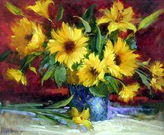 Fine Art-Hedi Moran MoranNew2005AA-Sunflowers%20and%20Yellow%20Lilies-20x24