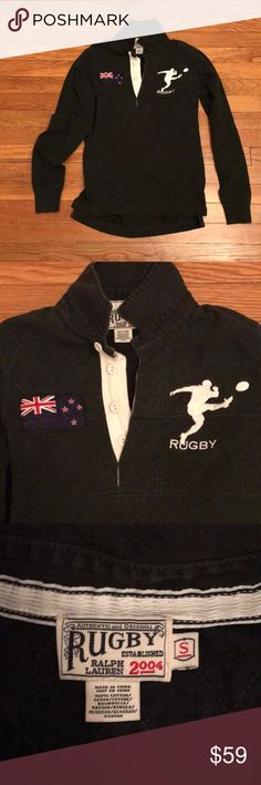 Rugby Ralph Lauren - New Zeland shirt. Size Small Rugby Ralph Lauren - New Zeland jersey shirt. Patch of New Zeland flag  on cheat and New Zeland logo on sleeve. RARE! 100% cotton Rugby Ralph Lauren Tops Tees - Long Sleeve