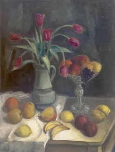 'Arnout' Jacobus Gustaaf Colnot (Amsterdam 1887-1983 Bergen (N.H.)) A still life with fruit and tulips on a table - Dutch Art Gallery Simonis and Buunk Ede, Netherlands.