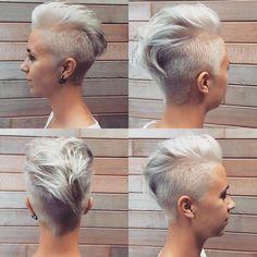 Irokesenschnitt für Frauen kurz platinblond Kurzhaarschnitt #hairstyles