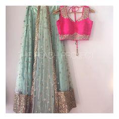 this kinda combo! Pakistani Formal Dresses, Indian Dresses, Indian Outfits, Indian Clothes, Designer Bridal Lehenga, Bridal Lehenga Choli, Indian Attire, Indian Wear, Indian Style