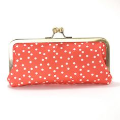Clutch Purse- Red canvas with white polka dots/ summer clutch / bright colors/evening purse