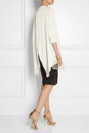 Open-back crepe de chine blouse