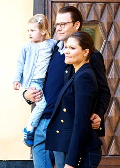 Princess Estelle with her parents Prince Daniel and Crown Princess Victoria of Sweden.