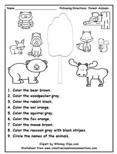 Following directions is fun with this delightful forest animal worksheet.  Find more freebies and lots of great units at: www.creativeclassroomconnections.com.