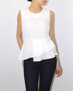 Natalie - White Peplum Top, Cocktail PeplumTop, Career Blouse, Party Blouse, Shell Top, Bridal Blouse https://www.etsy.com/listing/245798547/natalie-white-peplum-top-cocktail