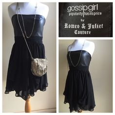 ❗️Clearance❗️Gossip Girl dress Gossip Girl by Romeo & Juliet Couture. Faux leather bust and draped chiffon bottom. Perfect lbd. Worn once and still in great condition. Hand wash cold. Accessories not 4 sale. Romeo & Juliet Couture Dresses