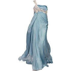 edited by Satinee - Jack Guisso ❤ liked on Polyvore featuring dresses, gowns, long dresses, vestidos, blue evening dress, blue ball gown, long blue dress and blue dress
