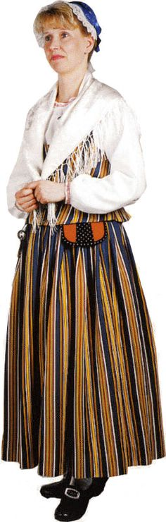 Folk dress of Kainuu region, Finland Folk Costume, Costumes, Folk Clothing, Black And White Pictures, Traditional Dresses, Finland, Scandinavian, Midi Skirt, Outfits