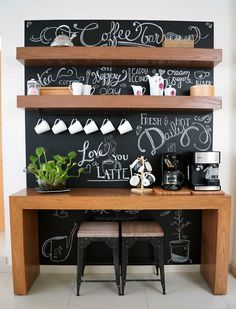 coffee bar ideas - Coffee Bar Ideas - Looking for some coffee bar ideas? Here you'll find home coffee bar, DIY coffee bar, and kitchen coffee station. Coffee Bar Design, Coffee Bar Home, Home Coffee Stations, Coffe Bar, Coffee Menu, Coffee Tables, Coffee 21, Ninja Coffee, Cheap Coffee