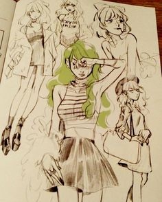 Sketches by #LeslieHung for  #SnotGirl  #BryanLeeOMalley #ImageComics