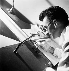 This is Norman McLaren a Scotsman that is well known for his work for drawing on film. The technique for drawing on film is that you have a roll of film set out flat for you to draw upon. Commonly associated with 'making animation without a camera'. The technique is genuinely very simple because you can't be too complex with film as the frames are small, although many children took upon the technique and used continues lined drawings.